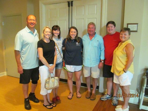 Jordan Esry, incoming freshman, and her father Bill, class of 1980, are pictured on the far left.