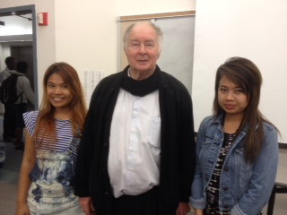 Father Joe (center) with two students from his Mercy Centre, Nantana Kwangtong (left) and Lekza Meechai (right)