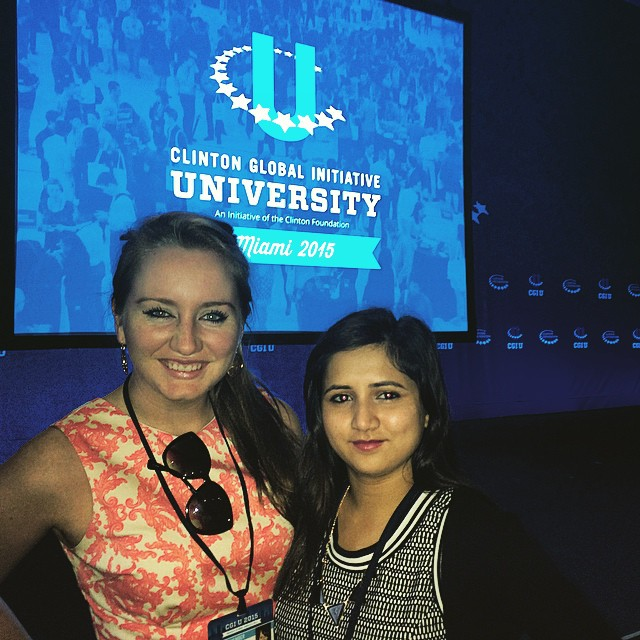 Molly Dwyer '16 (left) with Binju Gaire '16 (right)