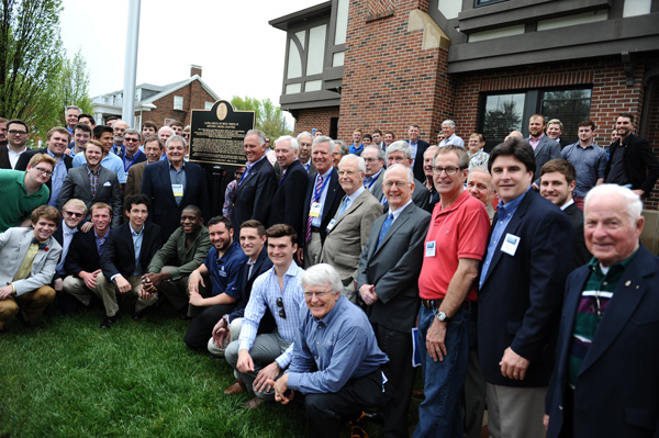 Beta alumni and friends gather for the historical marker dedication, April 25, 2015, at Westminster College.