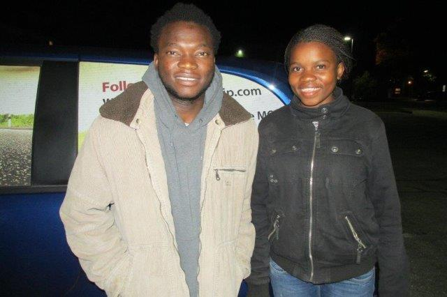 "Welcome to these new students from Swaziland - Joseph ""Zito"" Mbowa and Vela Dlamini."