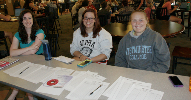 Alpha Gamma Delta Donut Sale. Peyton Hall '18; Alexis Richards '18; Nicole Hall '19