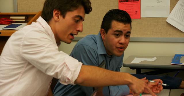 First meeting of Westminster Debate Club. Nicolas Lopez '18; Martin Roa '15