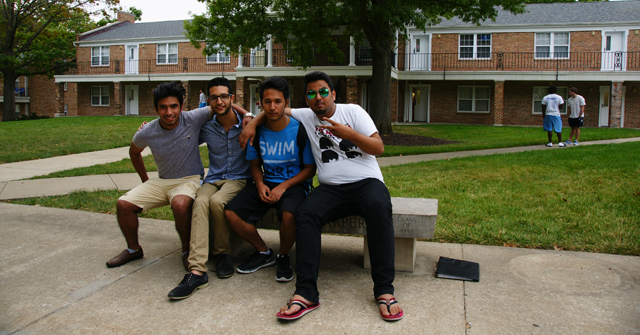 Freshmen having fun in Quad. Apoorba Malla '19; Rohit Šįñgh Bhäñdärį '19; Chandan Thapa '19; Aarman Tarapore '19
