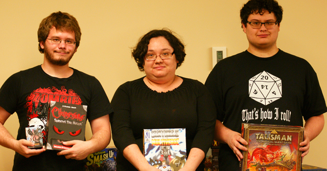 Game night with Table Top Gaming Club. From left to right, Christian Jones '15, Victoria Hart '16, and Walker Brown '16.