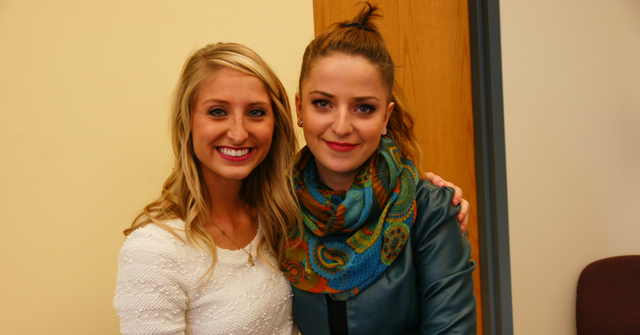 Jaynie Coffman '16 and Lejla Dervisevic '16 presented their Take a Friend Home program experience
