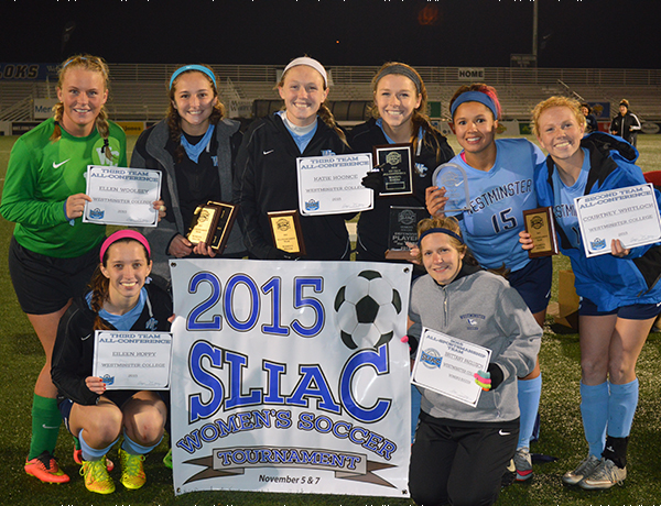 Members of the Westminster College women's soccer team receive all-conference honors from the St. Louis Intercollegiate Athletic Conference.