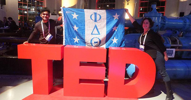 Westminster student and Phi Delta Theta member Shrijan Amatya (left) at the TEDGlobal>Geneva conference, Dec. 2015.